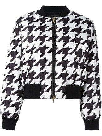 jacket bomber jacket women black pattern houndstooth
