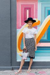 hat,black hat,shoes,slide shoes,black hats,t shirt print,backless dress,bag
