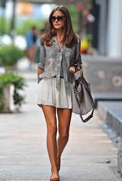 blouse,olivia palermo,skirt,fashion girl,pleated skirt