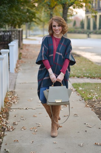 something delightful blogger t-shirt shoes bag jewels cardigan handbag brown boots knee high boots fall outfits