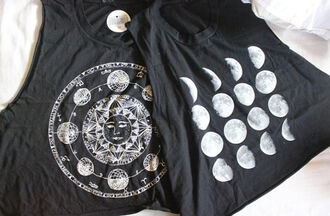 shirt moon black muscle tee t-shirt white indie gorgeous perfect singlet cute girlie outfit tank top swag girly top crop tops moon phases moon and sun solar system grunge hipster want so bad astrology top astrology cut offs tumblr tumblr clothes moon shirt blouse graphic crop tops black and white