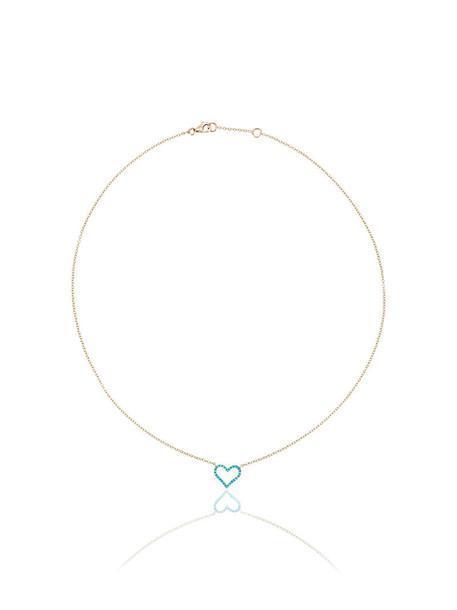 ROSA DE LA CRUZ heart women necklace pendant gold blue yellow turquoise jewels