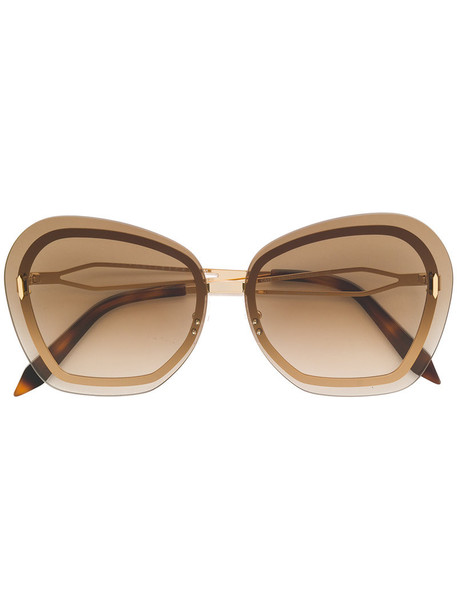 Victoria Beckham metal women butterfly sunglasses brown