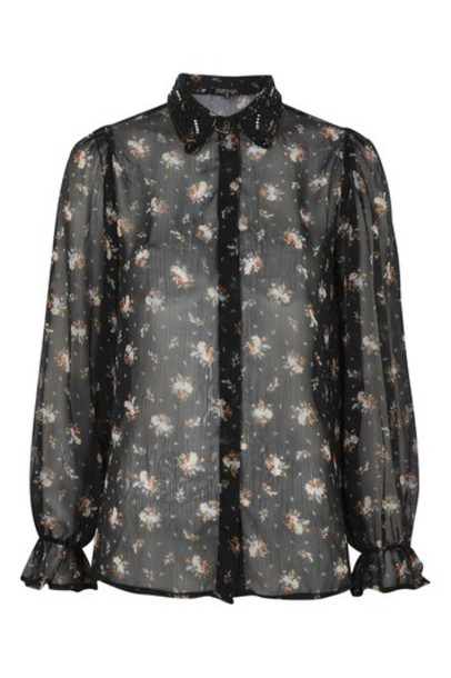 Topshop shirt beaded black top