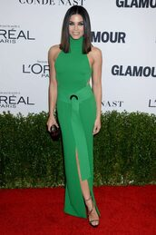 dress,green,green dress,gown,jenna dewan,slit dress,sandals,prom dress