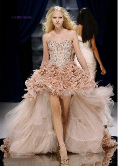 dress pink tulle ruffles high low sparkly dresses shoes