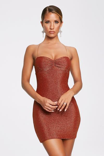 Mabel Shimmer Lace Up Mini Dress - Shimmer Orange