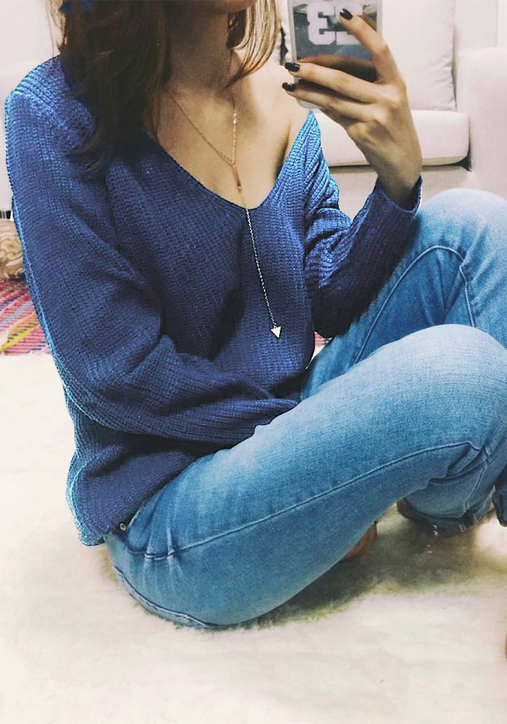 Blue Knitted Plunge Sweater