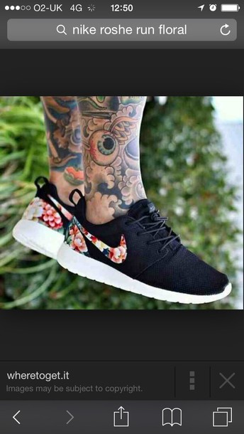 shoes nike rosche black floral