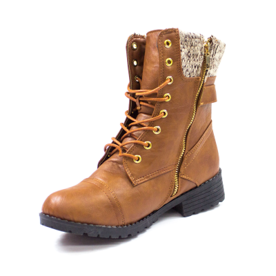 Cuff Lace Up Ankle Combat Boots Brown | Danice Stores