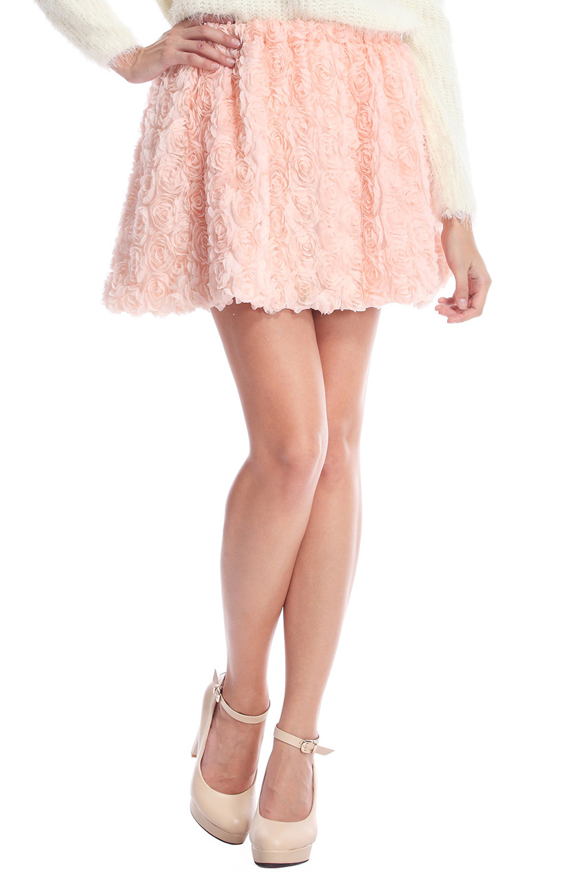 ROMWE | ROMWE Faux Roses Embellished Pink Skirt, The Latest Street Fashion