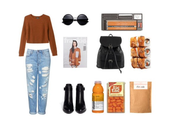 sunglasses fall sweater boyfriend jeans boots backpack