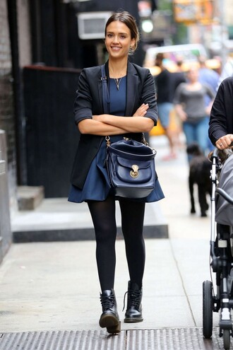 boots jessica alba fall outfits dress jacket