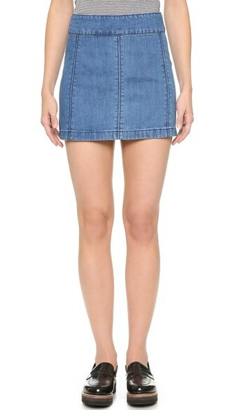 miniskirt denim zip skirt