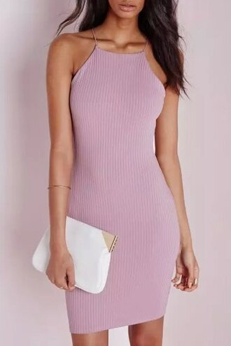 dress pink high neck sexy clubwear style zaful clutch girly chic lilac fashion trendy summer cute jersey dress summer outfits summer dress pink dress knitted dress bodycon dress