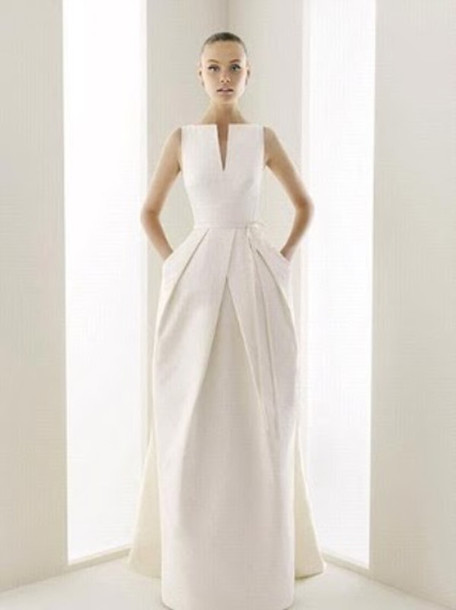 dress, wedding dress, white, sleek, formal dress, prom dress, modern ...