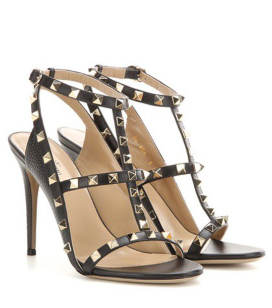 Valentino Rockstud Leather Sandals in black