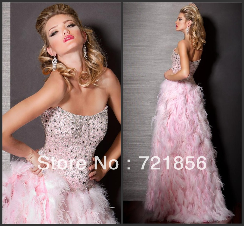 PDS 30 Ready To Ship!! Hotsale Newest Sexy Fashional Feather Beads Crystal Prom Dresses 2013-in Evening Dresses from Apparel & Accessories on Aliexpress.com