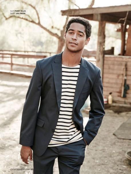 76e485e9bd jacket mens blazer stripes striped t-shirt Alfred Enoch editorial menswear
