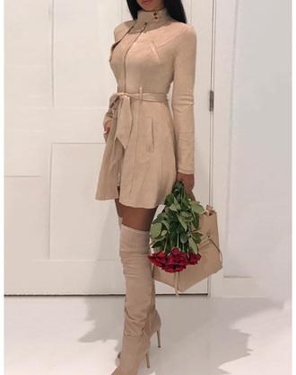 jacket long sleeves nude zipper dress mock neck