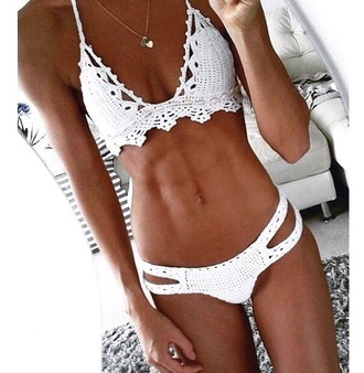 swimwear white crochet bikini summer top pants