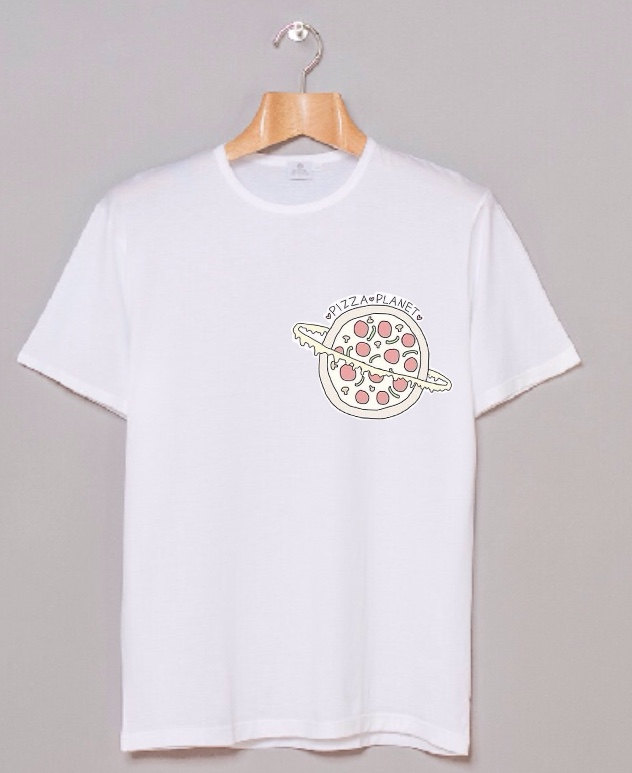 Planet pizza graphic white hipster teen tumblr shirt