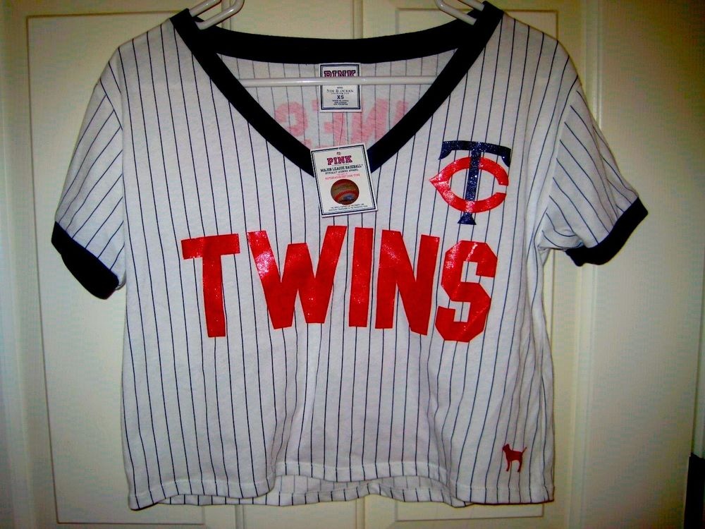 Victoria's Secret Pink Minnesota Twins Bling Crop Stripe T Shirt | eBay