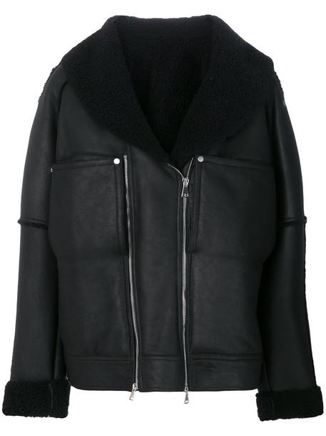 jacket shearling jacket oversized women black