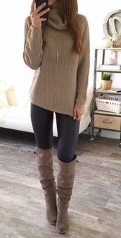 shoes,taupe boots with pull up handles,sweater