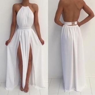 dress prom dress white backless slit dress