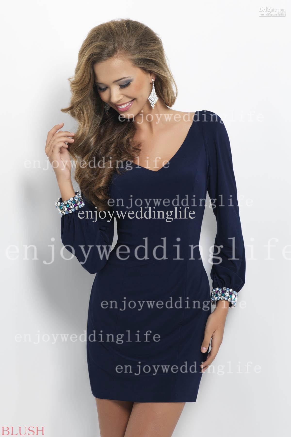 Cheap Bridesmaid Dresses - Discount Long Sleeves V Neck Mini Cocktail Dresses Beaded Online with $90.4/Piece | DHgate
