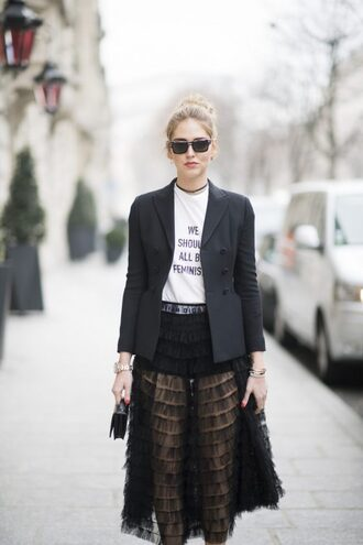jacket tumblr quote on it t-shirt white t-shirt black blazer blazer skirt black dress midi dress see through sunglasses streetstyle chiara ferragni top blogger lifestyle