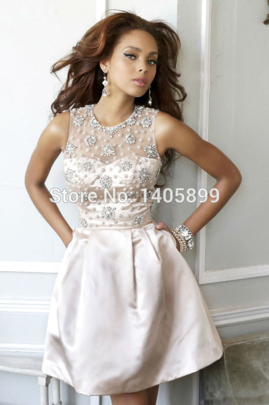Aliexpress.com : buy sexy o neck off the shoulder with beaded crystal pearls natural above knee mini back keyhole a line prom dresses 2014 from reliable shoulder pad dress suppliers on bridal lover