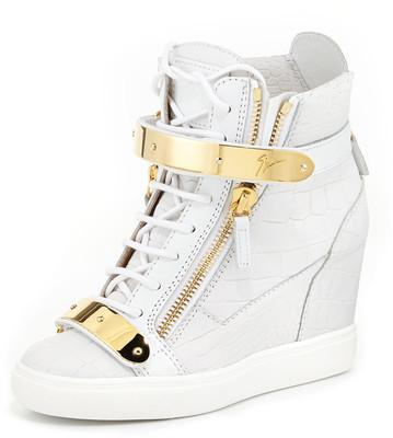 Giuseppe Zanotti Embossed Double-Strap Wedge Sneaker - Bianco (40.0B/10.0B)