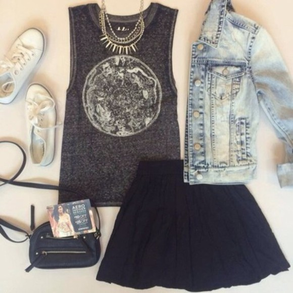 grey top black skirt jacket converse bag