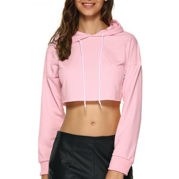 Sweater: crop, crop tops, cropped, cropped sweater, pink, hoodie ...