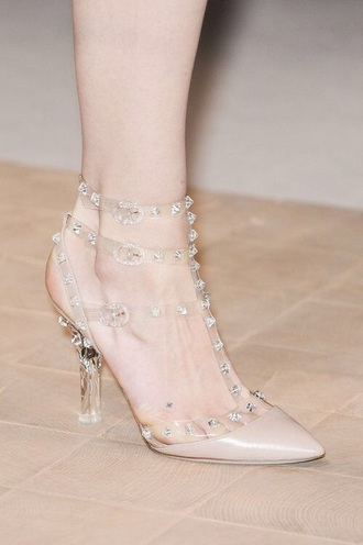 shoes heels clear stud