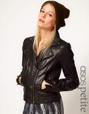 Petite | ASOS PETITE Leather Biker Jacket at ASOS