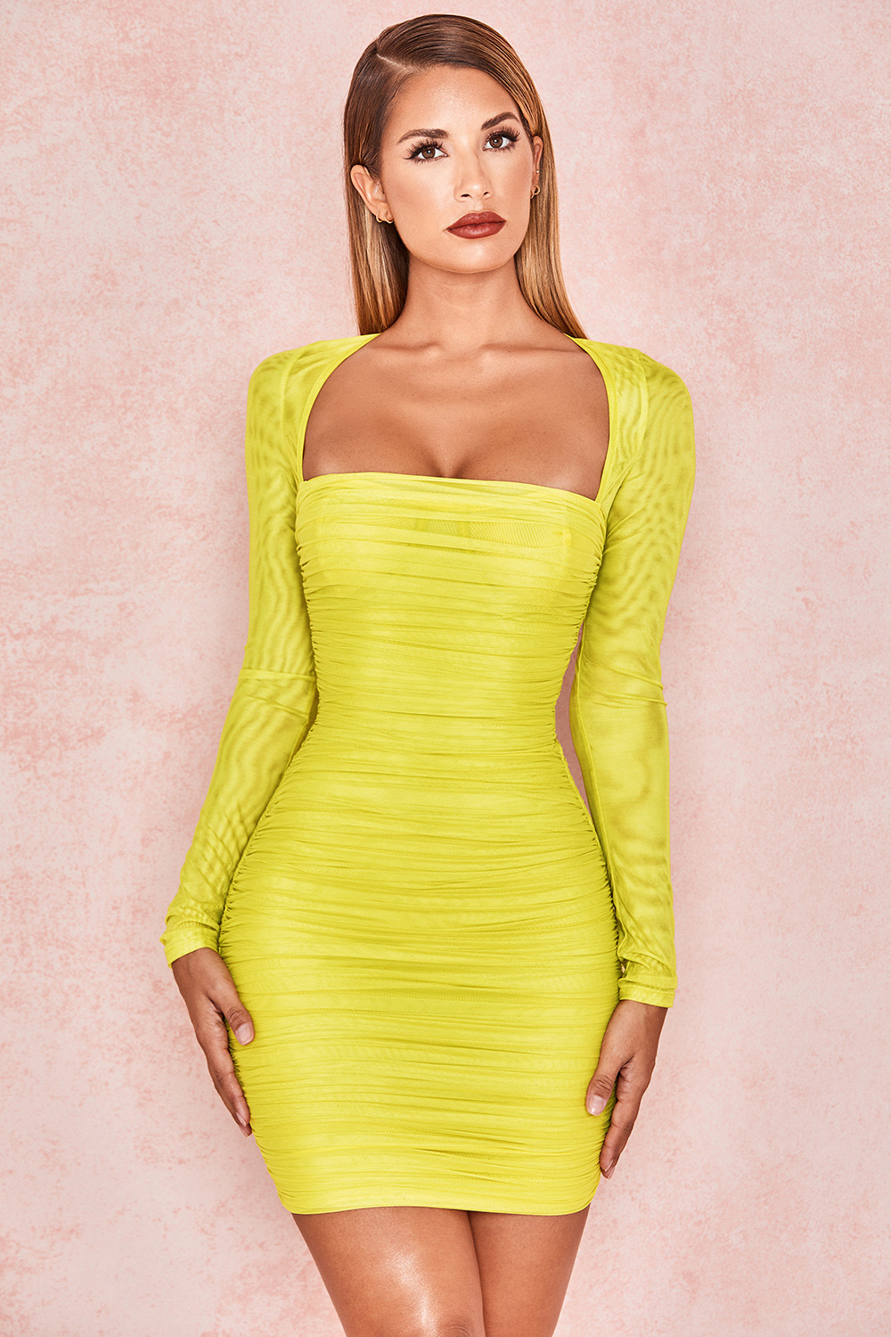 Clothing : Bodycon Dresses : 'Valentina' Chartreuse Long Sleeved Ruched Organza Mesh Dress
