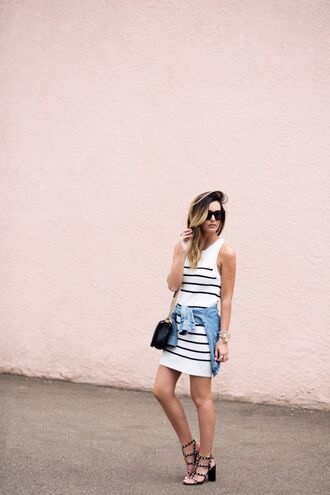 for all things lovely blogger bag sunglasses jewels striped dress mini dress denim jacket black bag mini bag thick heel summer dress stripes valentino rockstud sandals sandal heels studded sandals black sandals tank dress