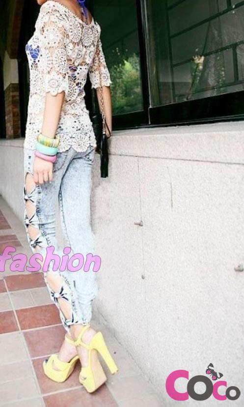 Super slim skiny korean fashion bow jeans pants