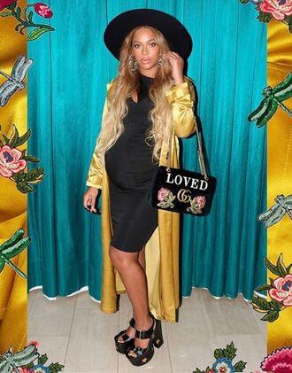 bag sandals dress yellow maternity maternity dress beyonce platform sandals instagram hat