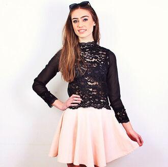 blouse lace blouse high neck blouse black lace floral lace sheer blouse