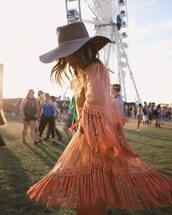 dress,tumblr,hat,festival,fringes,fringed dress,peach dress,peach,three-quarter sleeves,coachella,coachella outfit