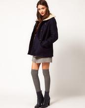 coat,clothes,navy,asos,fur,winter outfits,sessun