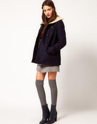 coat clothes navy asos fur winter outfits sessun