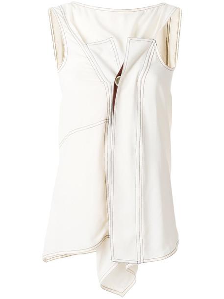 Marni - asymmetric sleeveless blouse - women - Silk/Acetate - 42, Nude/Neutrals, Silk/Acetate