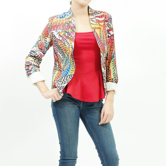 feathers colorful jacket colorful blazer trendy trendy jacket feather jacket china collar fashion jacket fashionable fashionable jacket stylish stylish jacket colorful jacket night out night outfit fall outfits multi colored multi colored jacket