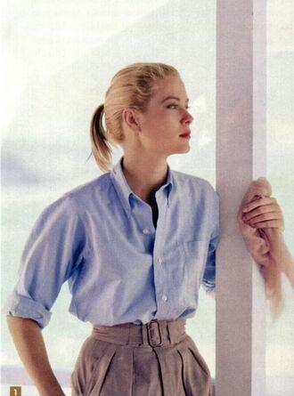 shirt grace kelly actress blue shirt pants high waisted pants grey pants classy retro