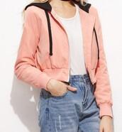 jacket,pink,girly,girl,girly wishlist,black,crop tops,crop,cropped,hoodie